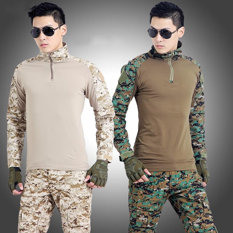 Leger Tactische Militaire Uniform Pak Lange Mouw Battle Strike Outdoor CS Uniformen Camouflage Combat Shirt + Broek - 4