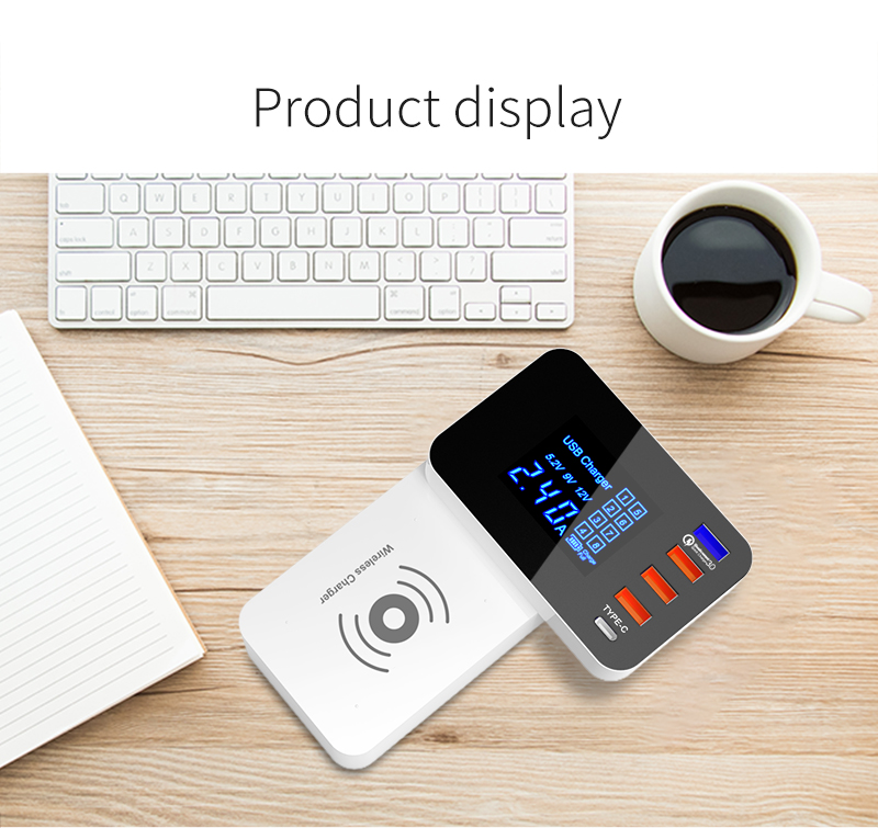 Quick Charge 3.0 Smart USB Type C Charger Station Led Display Fast Wireless Charger (18)
