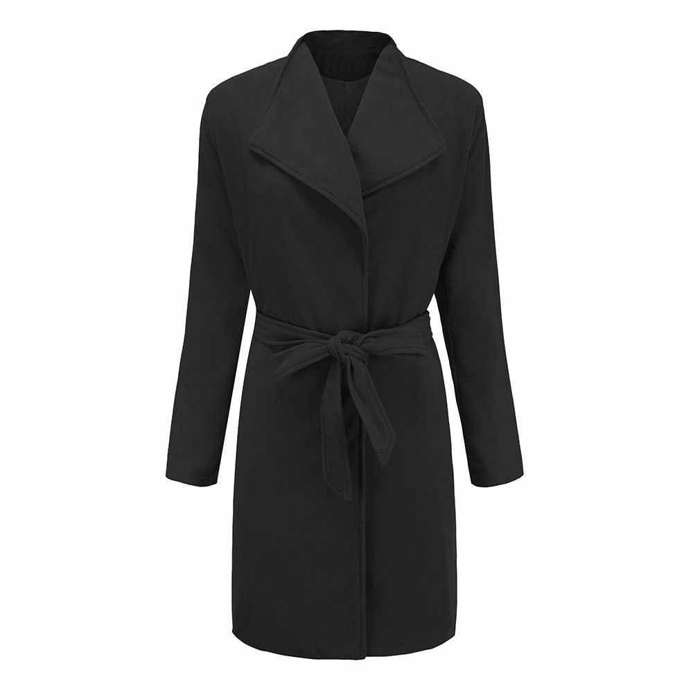 Free Ostrich Coat Women 2019 New Autumn Winter Warm Trench Jacket Casual Black Solid Thickness Warm Sashes Jackets N30