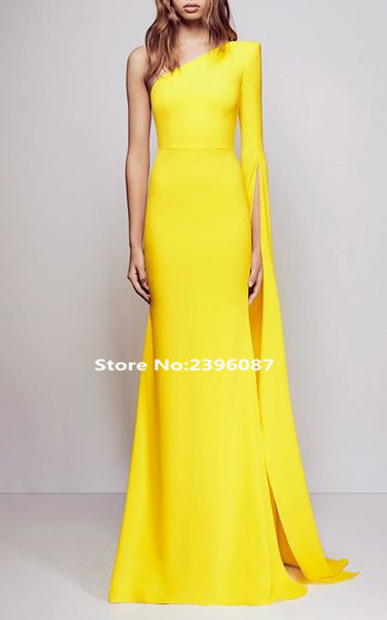 New Fashion Yellow One Shoulder Mermaid Evening Dresses Long Plus Size Formal Evening Gowns Dress Robe De Soiree Abendkleid 2017