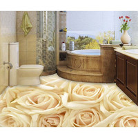 Wear-resisting 3D mural Flowers Floor Wallpapers For Living Bathing Room White Rose Wall Stickers Removable Waterproof New 276
