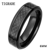 TIGRADE 6mm 8mm Men S Black Carbon Fiber Inlay Ceramic Ring Korean Wedding Band Engagement Rings