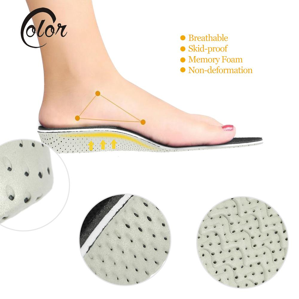 Memory Foam Height Increase Shoes Insoles Foot Care Tool Arch Support Flat Foot Cushion Insert ...