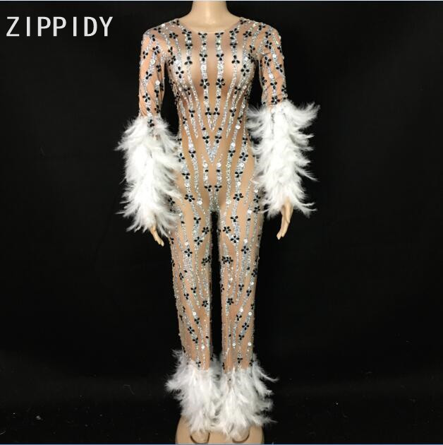 Sparkly Rhinestones White Feather Jumpsuit Long Sleeves Spandex Bodysuit Big Leggings Birthday Party Singer Evening Stage Wear