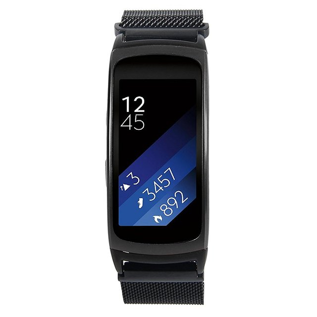 Black  Fit 2 Milanese Loop Stainless Steel Band  With Magnet Clasp For Samsung Gear Fit 2 SM-R360 Smart Watch Black Large