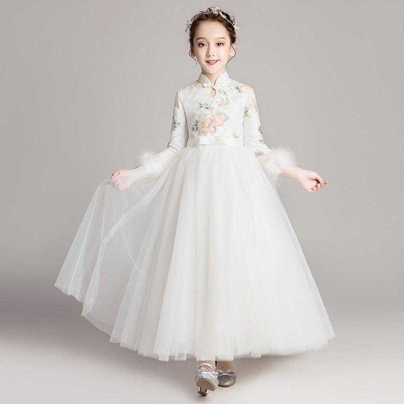 New Children Girls Mesh Flowers Tutu Princess Dress Kids Dresses For Girls Wedding Piano Party Toddler Girl Clothes Vestido F214