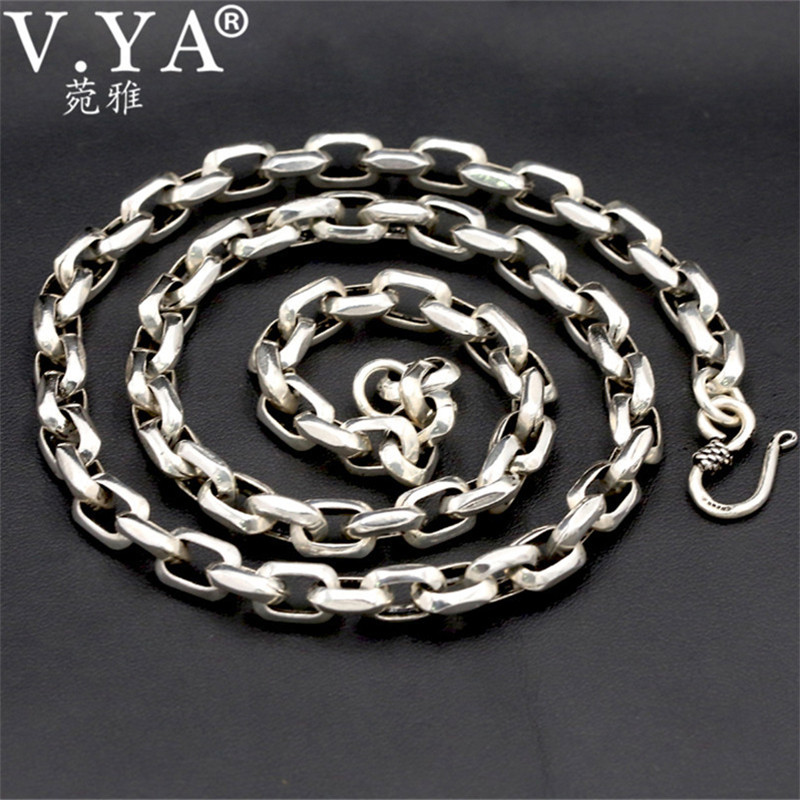 V.YA 8mm Thailand Thai Silver Chains for Men 925 Sterling Silver Thick Chain Necklace Fashion Jewelry 55cm 60cm 65cm все цены