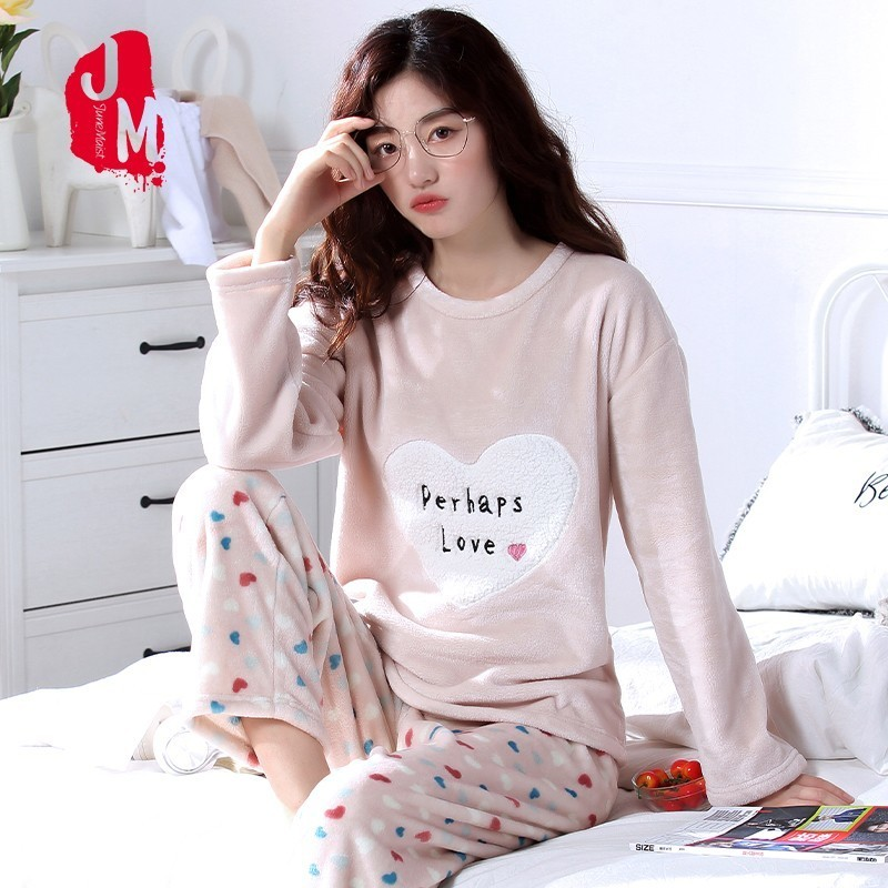 Warm Pajamas Female Winter Flannel Print Women Pajamas Set 2018 Thick Coral Flee