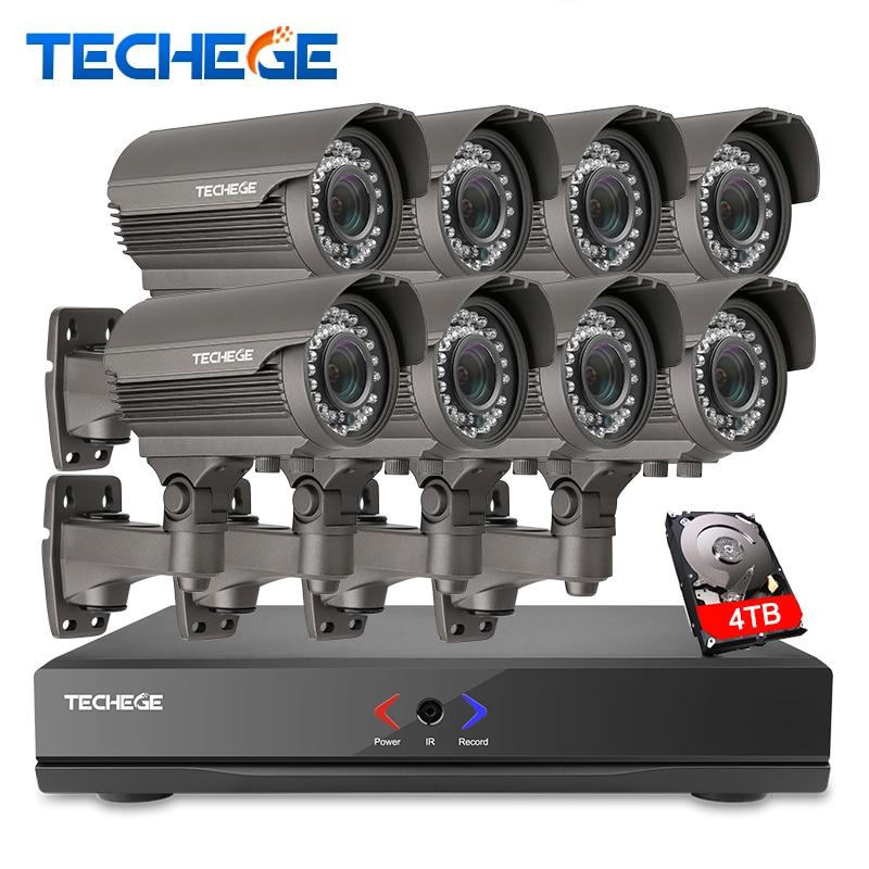 Completo 8CH 1080 p POE kit 48 V POE NVR 8 piezas 2.0mp PoE IP Cámara 2,8-12mm zoom P2P nube sistema cctv sistema de video vigilancia