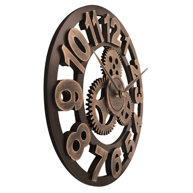 15.7 Inch Large Wall Clock Slient Gear Wooded 3D Retro Vintage Art Wall Watches Roman Style Circular Oversized Saat Home Decor