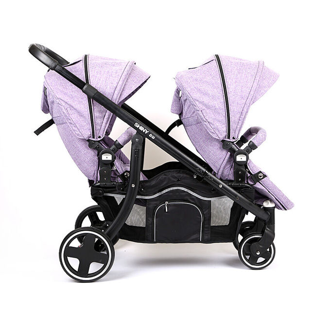 Luxury Baby Stroller Two Colour Four Wheels Two-Seater, Fashion Style , Foldable Stroller,Stroller Carry Bag Shock Absorber