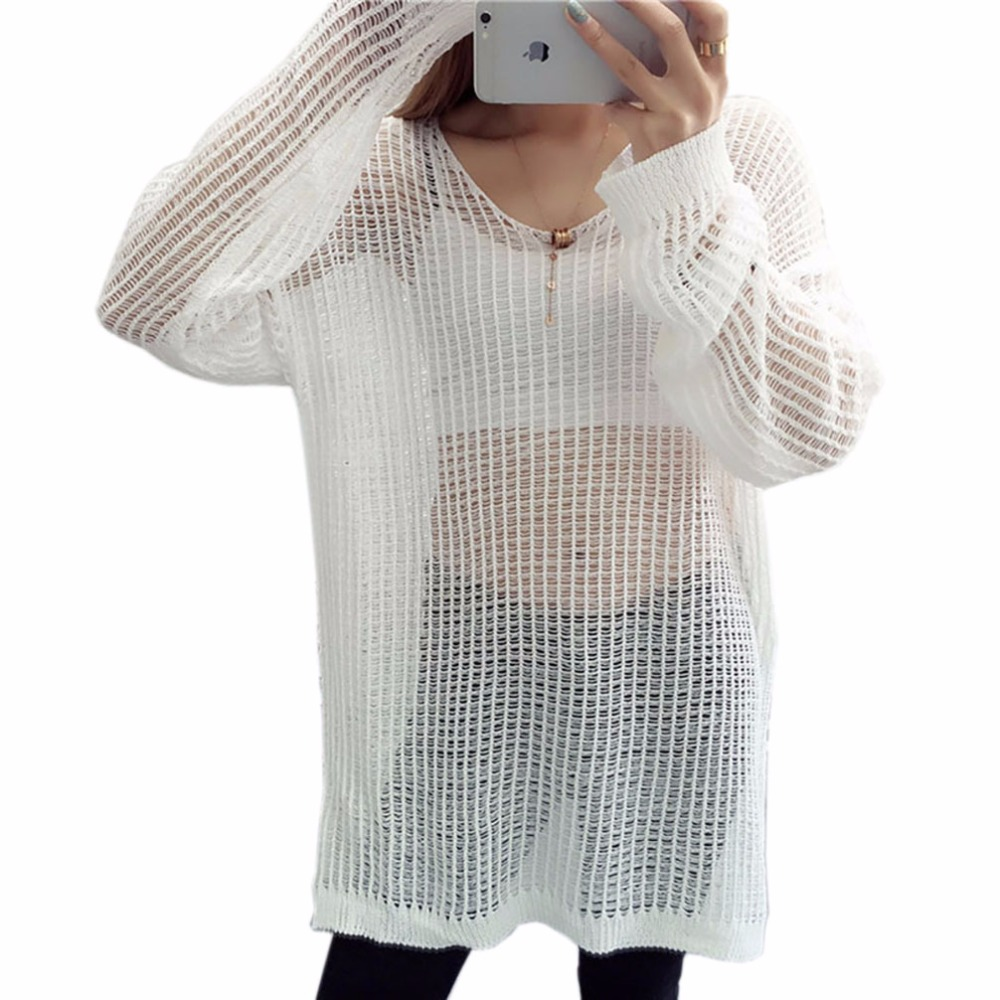 2017 Marca Primavera Vestido de Suéter Flojo Hueco Vestido de Punto Jerseys Tops