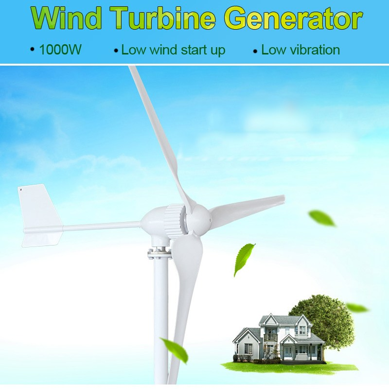 1000W 24/48V 3 Blades Wind Turbines Power Generator Home Garden Horizontal Shaft Permanent Magnetic Wind-driven Generator driven to distraction