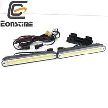 2 unids 20 cm COB LED Vehículos Car Luz Corriente Diurna DRL Blanco Estupendo de la Lámpara de Advertencia de Seguridad con Soporte de Instalación 12 V/24 V E4