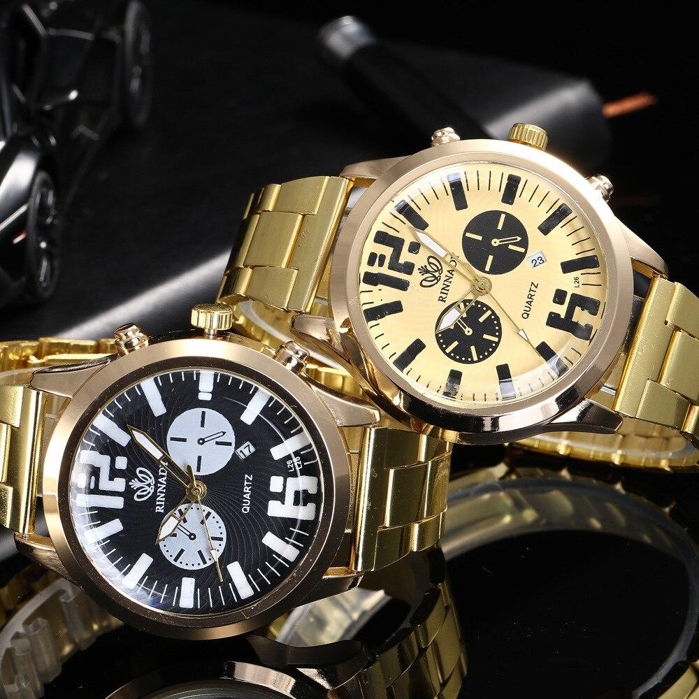 2018 Gold Watch Men Luxury Business Man Watch Golden Waterproof Unique Fashion Casual Quartz Male Dress Clock Gift Drop Shipping