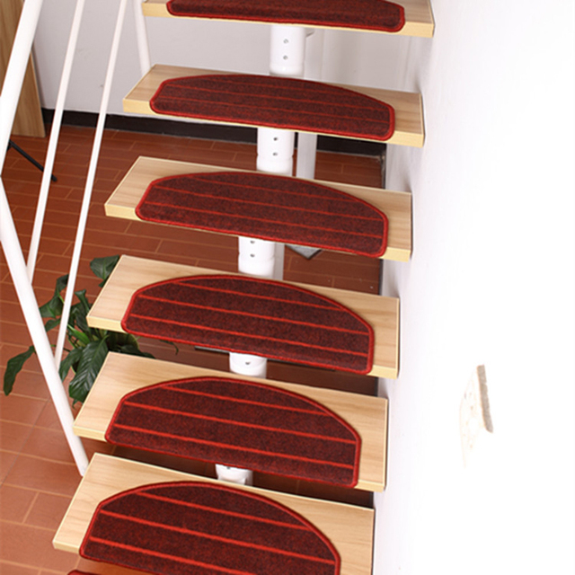 Red Stair Carpet Mats Staircase Stepping Pad Rugs For Stairs With Magic  Buckle On Back Non