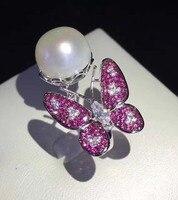 Qi Xuan_Trendy Jewelry_Freshwater жемчуг Ring_S925 Твердые Щепка Мода бабочка жемчуг Ring_Manufacturer непосредственно распродажа