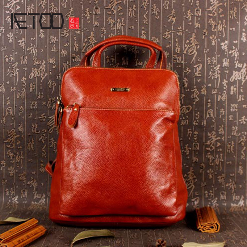 AETOO Leather casual female backpack genuine leather retro shoulder bag ladies Europe and the United States style backpack aetoo pure leather europe and the united states japan and south korea fashion retro bag leather leather casual daily travel back