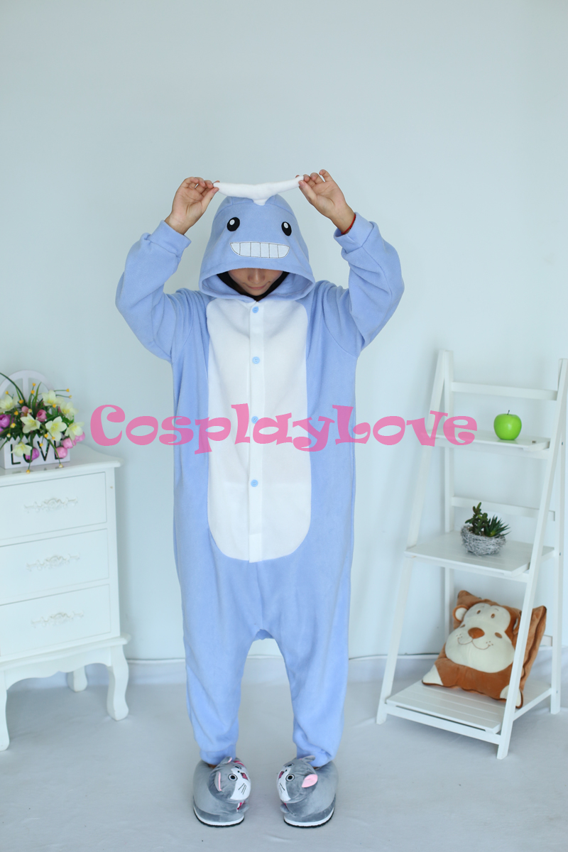 blue whale pajamas animal cosplay costume coral women men kid adult