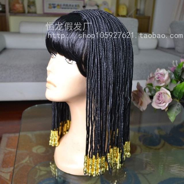 Egypt Queen Cleopatra Wig with Neat Bangs braiding hair deluxe halloween  christmas Bobo wigs 159d1c2a5