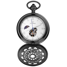 лучшая цена OUYAWEI Moon Phase Mechanical pocket watch Skeleton Dial Hollow Black case Men Necklace Fob Watches Relogio bolso