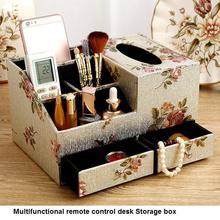 Creative leather tissue box Multifunctional remote control Storage Desktop finishing storage