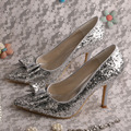 Wedopus Top Selling Stiletto Heel Bow Tie Pumps Silver Glitter Wedding Shoes Pointed Toe