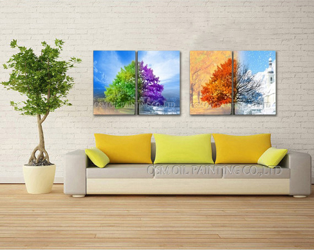 Top Artist Handmade High Quality Abstract 4 Panels Oil Painting on ...