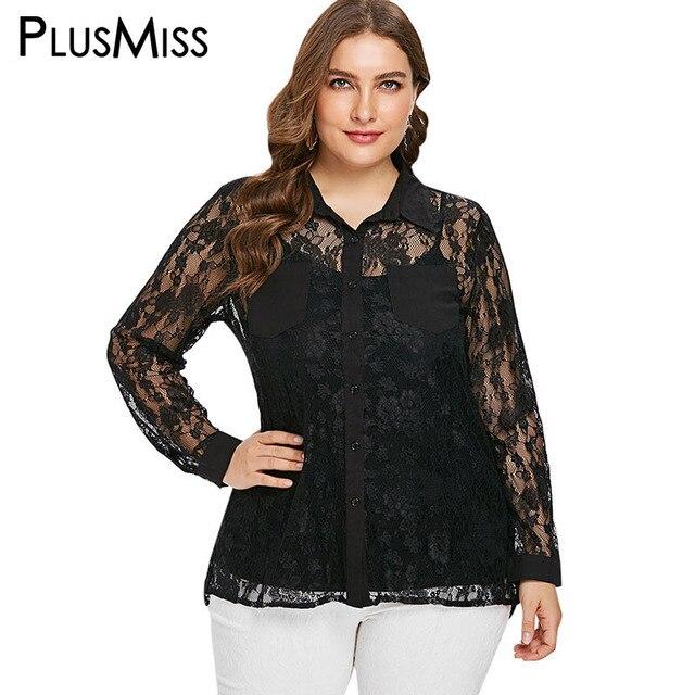 f24938cffa953 PlusMiss Plus Size Sexy Floral Mesh Lace Blouse Shirts 5XL XXXXL Women Big  Size Autumn Black Long Sleeve Tops Ladies XXXL XXL