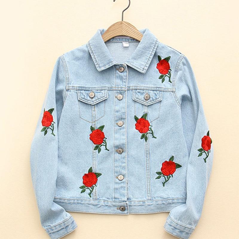 Autumn Vogue Rose Embroidery Blue Denim Jacket Long SLeeve Lapel Washed Women Basic Coat Plus