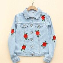 Осень Vogue Роза Вышивка синие джинсы куртка с длинным рукавом нагрудные промывают Для женщин одноцветное пальто плюс Размеры Весте ан Жан WWWM70