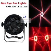 2xLot High Quality New Led Mini Bee Eye Beam Par Light 6X10W RGBW 4IN1 Professional Stage Lights LCD Display For Free Shipping