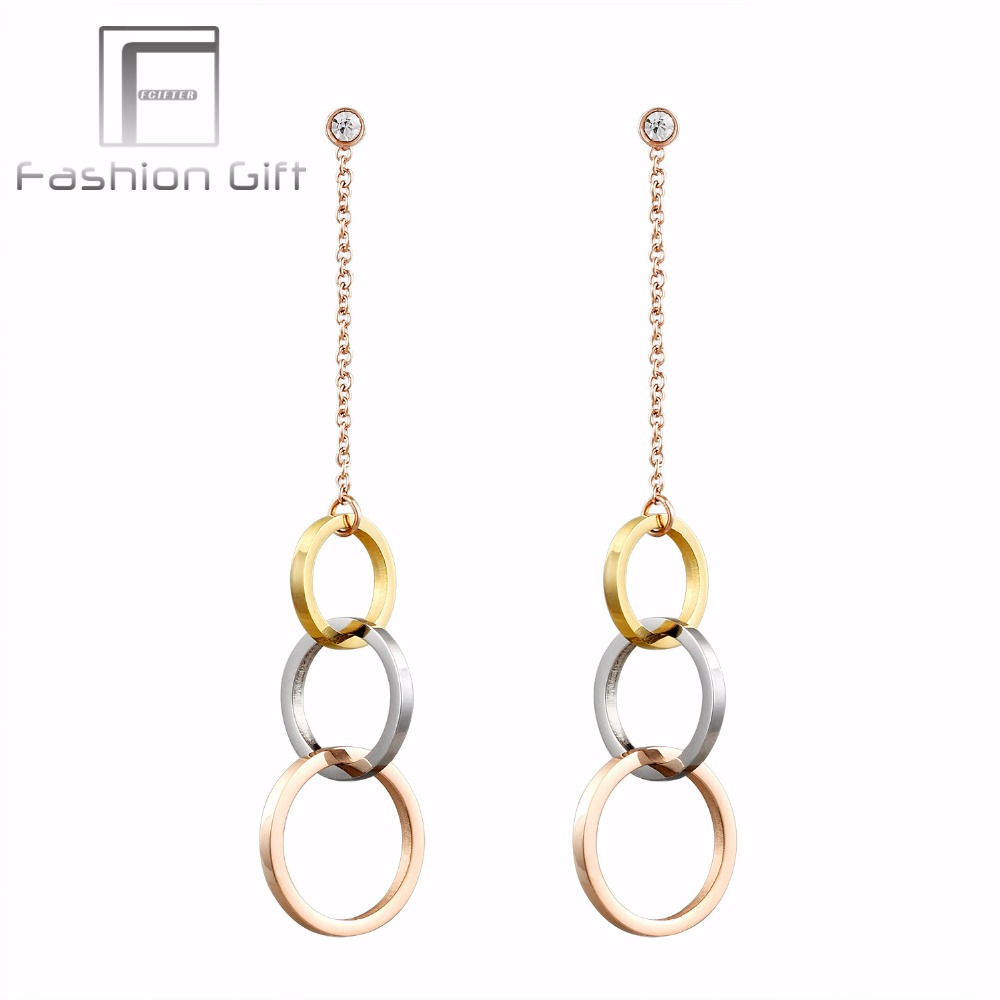 FGifter Charming Gold Silver Rose Gold Color Circle Long Earrings Women Wedding Jewelry High Quality Stainless Steel Earrings