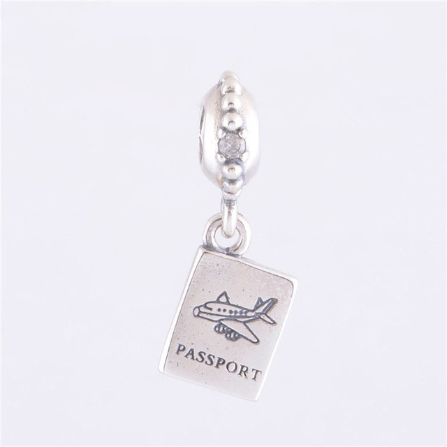 Antique 925 Sterling Silver Passport Dangle Charm Beads For Women DIY Jewelry Making Fits Pandora Charms Bracelet LW255