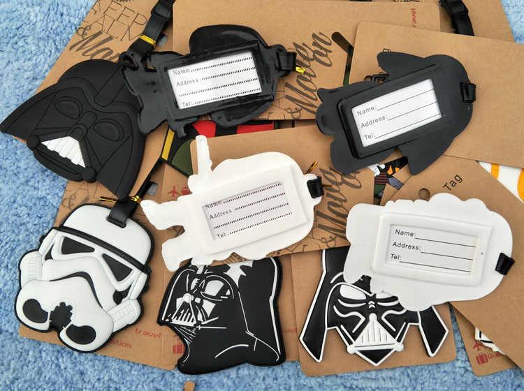 Lucu Kartun mainan Star Wars Bagasi Tag Hitam Ksatria Nama Silikon ID Travel Koper Tas Tag Aksesoris Hadiah