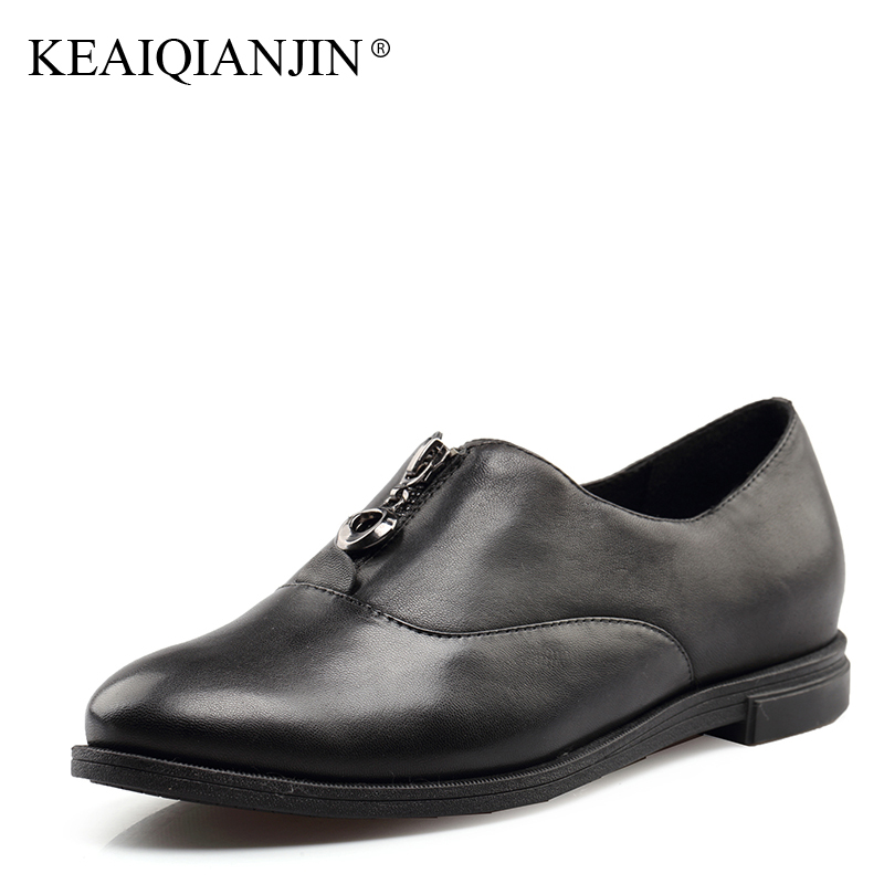 KEAIQIANJIN Woman Genuine Leather Derby Shoes Spring Autumn Black Patent Leather Flats Genuine Leather Loafers Lazy Shoes 2017 keaiqianjin woman sheepskin flats black red silvery plus size 33 41 spring autumn derby shoes lace up genuine leather shoes