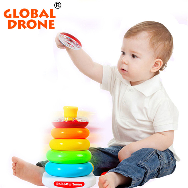 2017 New Arrival Kids Rainbow Tower Baby Toy Plastic Stacking Ring Tower Educational Toys Rainbow Stack Up for Children Gifts