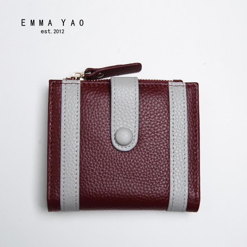 EMMA YAO genuine leather wallet female famous brand women wallets fashion purse