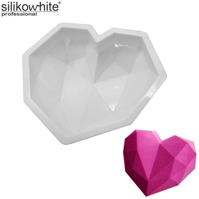 silikowhite diamant herz 3d kuchen formen silikonform geometrische raute f r eis schokolade. Black Bedroom Furniture Sets. Home Design Ideas