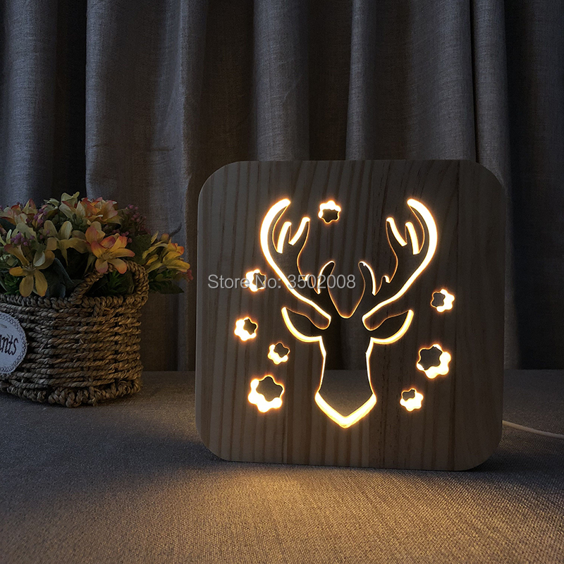 Wooden night light deer head hollow shape LED night lamp warm lighting USB power as holiday gift or home club decoration mipow btl300 creative led light bluetooth aromatherapy flameless candle voice control lamp holiday party decoration gift