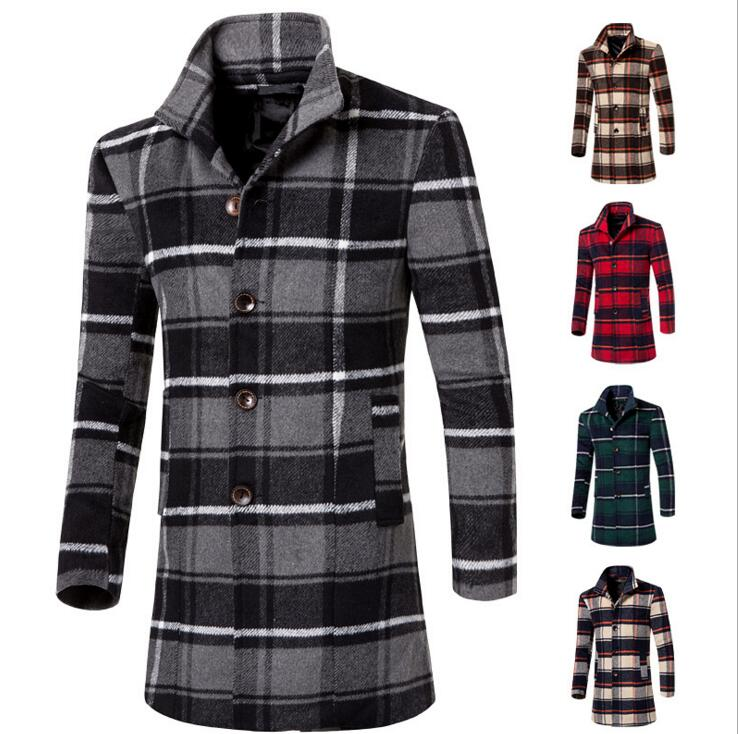 2016 fashion young mens tartan clothing long boy slim coat jacket autumn winter overcoat for male