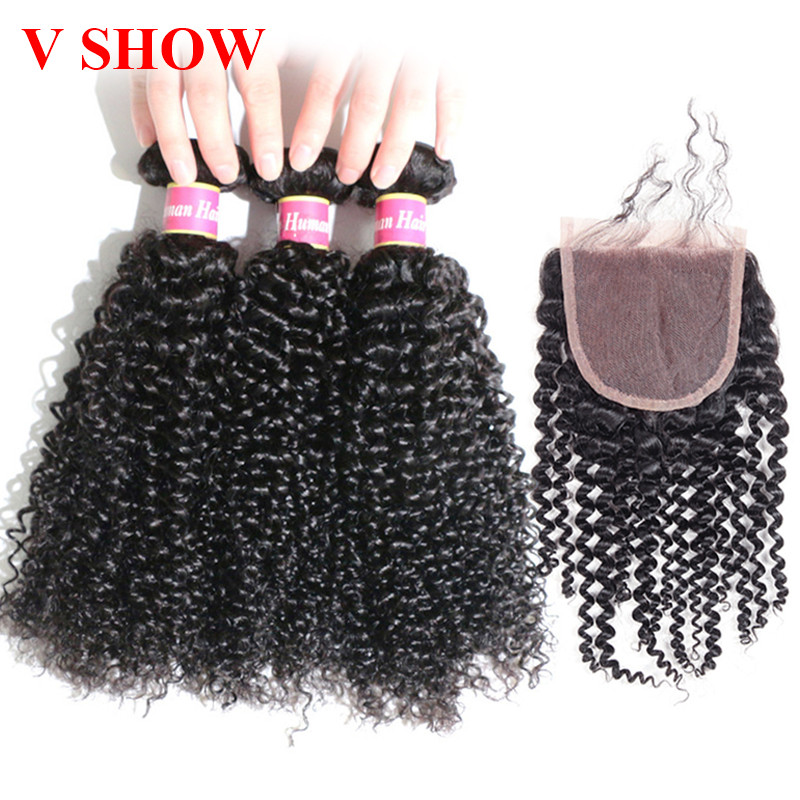 Brazilian Kinky Curly Bundles With Closure 3 Bundles With Closure - Human Hair (For Black)