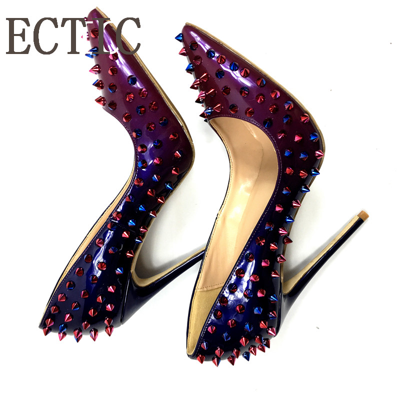 Brand Sexy Women Metal Rivets Studs Shiny Leather Pumps Stilettos Pointed Toe Ladies Spikes Slip on Bridal Dress High Heel Shoes sequined high heel stilettos wedding bridal pumps shoes womens pointed toe 12cm high heel slip on sequins wedding shoes pumps