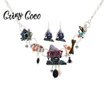 Cring Coco 2019 Wolf Grandmother Jewelry Set Luxury Statement Choker Necklace Sets Fashion Jewellery for Kids Womens Earrings