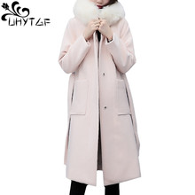 UHYTGF New Winter Double-faced Cashmere Woolen Coat Female Belt Fur collar Hooded Loose long Outerwear Plus size Black Coat 794