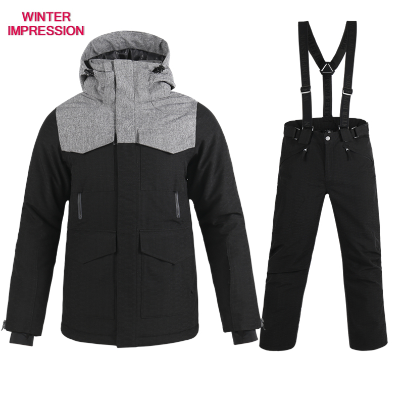 Free Shipping  New Brand Ski Suit Men Winter Waterproof Coat High-Quality Snowboarding Sets Black Color Optional Ski Sets Male