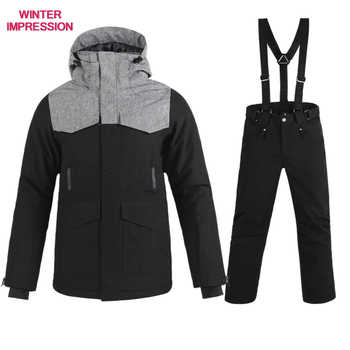 Free shipping New Brand Ski Suit Men Winter Waterproof Coat High-Quality Snowboarding Sets Black Color Optional Ski Sets Male - DISCOUNT ITEM  39% OFF Sports & Entertainment
