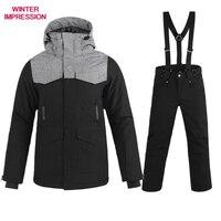 Frete grátis nova marca terno de esqui dos homens inverno à prova dwaterproof água casaco de alta qualidade conjuntos snowboard cor preta opcional conjuntos de esqui masculino|Jaquetas de esqui| |  -