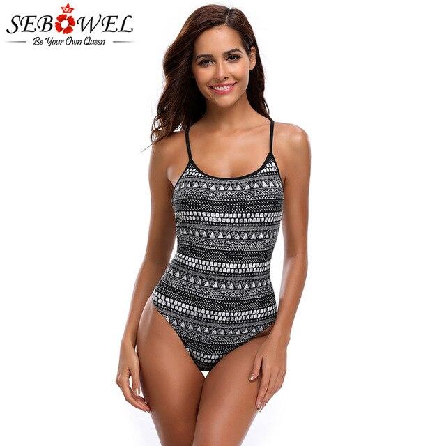 81363d060d7 SEBOWEL Sexy Geometric Print One Piece Swimsuit Women Backless Crisscross  Back Monokini Swim wear With Padded Beachwear S-XL