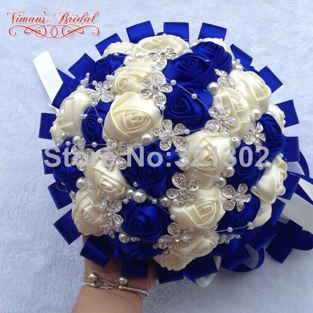 European And American Brides Holding Flowers Wedding Flowers Ornament Pearl Ribbon Wedding Bouquet De Novia Bridal Bouquets YJ16